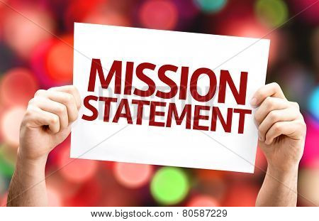 Mission Statement card with colorful background with defocused lights