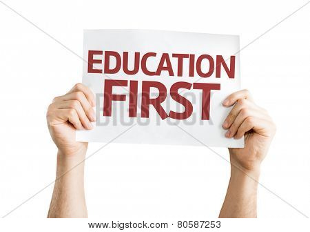 Education First card isolated on white background