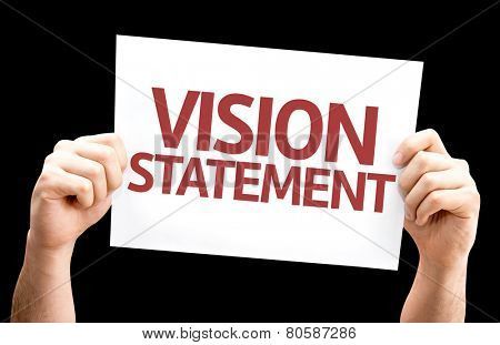 Vision Statement card isolated on black background