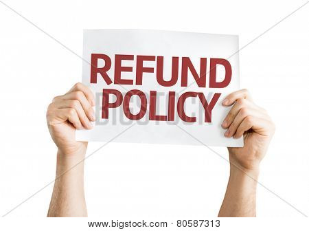 Refund Policy card isolated on white background