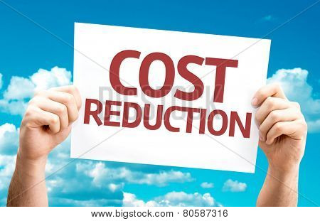 Cost Reduction card with sky background