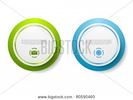 Abstract green and blue circle stickers. Vector design