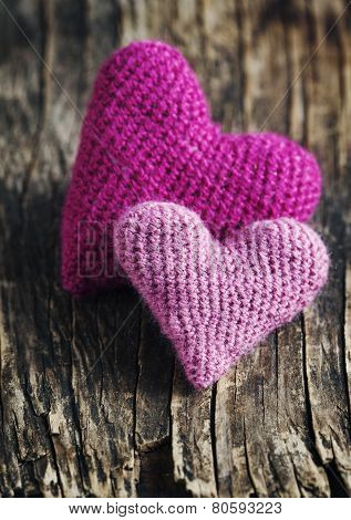 Two Crochet Pink Hearts