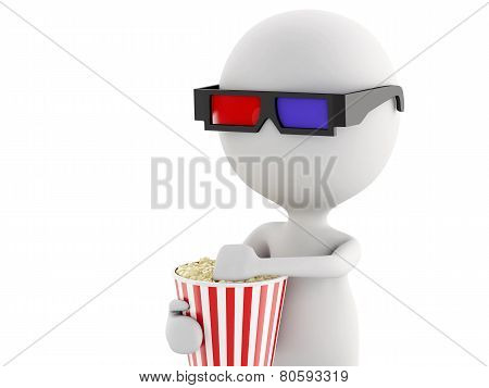 3D White Man With 3D Glasses And Popcorn, Isolated White Background