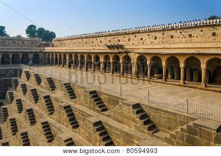 Jaipur, India - December 29, 2014: Chand Baori Stepwell In Rajasthan, India.
