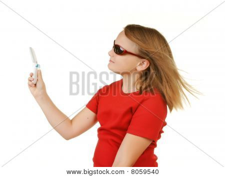 Young Girl Taking Phone With Phone