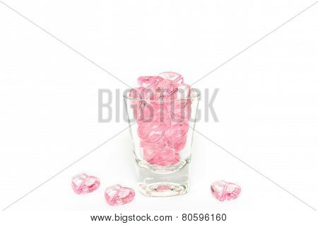 Pink Crystal Hearts Glass  On White Background