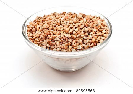 raw buckwheat groats in plate
