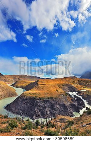 National Park Torres del Paine, Patagonia, Chile. The river bends between the hills, forming the