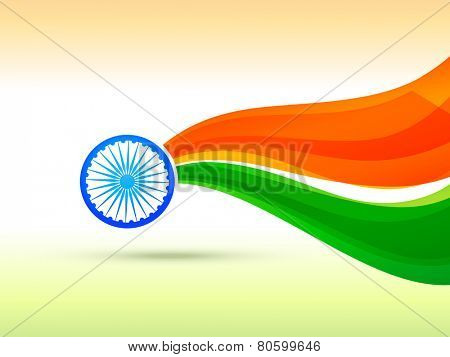 vector indian flag design made in wave style with tricolor background