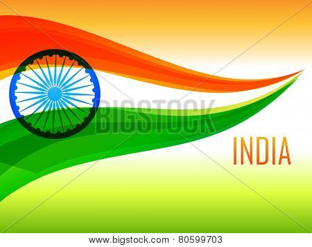 indian flag made with wave in tricolor background vector design