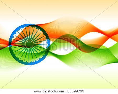 ector indian flag design made in wave style on isolated background