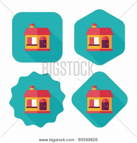 Building House Flat Icon With Long Shadow,eps10