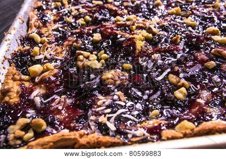 Blueberry Crumble In A Baking Sheet