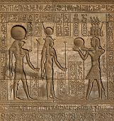 pic of hieroglyph  - Hieroglyphic carvings on the exterior walls of an ancient egyptian temple  - JPG