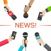 image of mass media  - Set of hands holding microphones and voice recorders - JPG