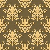 picture of tendril  - Seamless floral pattern on pale brown background with repeated tracery of abstract yellow flowers decorated swirls and curly tendrils - JPG