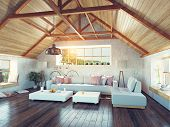 stock photo of attic  - beautiful modern attic interior - JPG