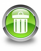 image of dust-bin  - Recycle bin icon on glossy green round button - JPG