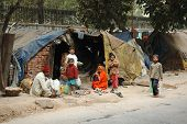 Poor Family At Slum Area In Delhi, India