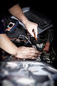 image of auto garage  - Mechanic working in auto repair garage - JPG