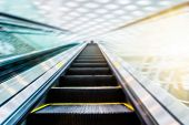 foto of escalator  - the escalator  of the subway station in shanghai china - JPG