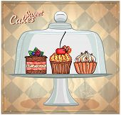 foto of cake stand  - Set of cute cakes under glass dome - JPG