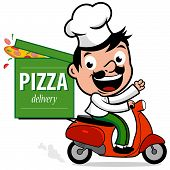 picture of scooter  - Illustration of a cartoon Italian pizza delivery man in chef uniform riding a scooter and delivering a pizza - JPG