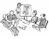 image of change management  - The seminar leader is conveying that change can be rough to the management team - JPG