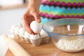 stock photo of plunger  - Baking ingredients for shortcrust pastry,plunger on the desk ** Note: Shallow depth of field - JPG