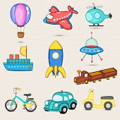 foto of parachute  - Set of nine transport toys with parachute - JPG
