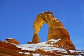 picture of arch  - Delicate Arch at night in Arches National Park Utah in winter - JPG
