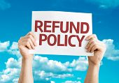 Постер, плакат: Refund Policy card with sky background