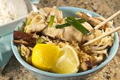 picture of gai  - Delicious Chicken Pad Thai with lemon and white rice - JPG