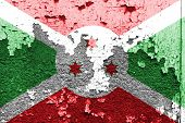 image of burundi  - Burundi Flag painted on grunge wall background - JPG