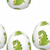 picture of dinosaur-eggs  - Easter eggs with cartoon dinosaur  - JPG