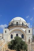 stock photo of synagogue  - The famous marble restored Hurva Synagogue - JPG