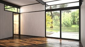 pic of windows doors  - 3D Rendering of Architectural background of a modern empty room with floor - JPG