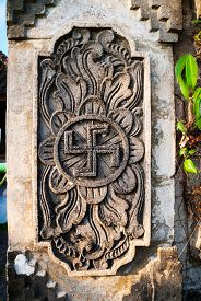 picture of swastika  - Detail of hindu temple with swastika symbol Indonesia - JPG
