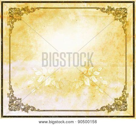 Vintage Frame. Grunge Paper Background.