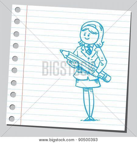 Businesswoman holding pencil
