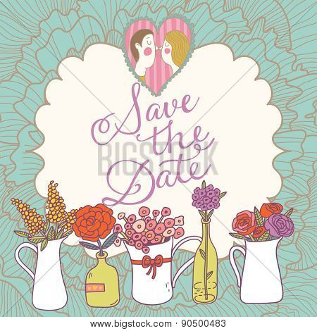 Lovely Save the Date card in vector. Sweet wedding invitation with a lot of beautiful flowers in popular modern colors