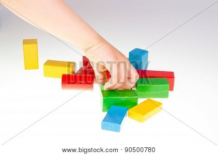 Colorful wooden building blocks