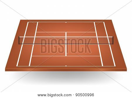 Vector Brown Tennis Court With Netting