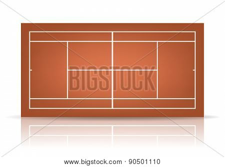 Vector Brown Tennis Court With Reflection