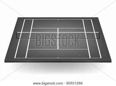 Vector Black Tennis Court With Netting