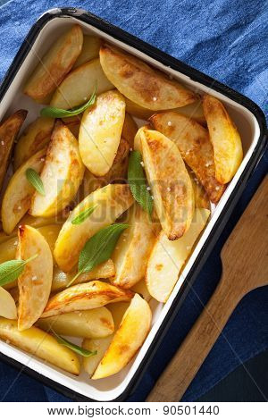 baked potato wedges in enamel baking dish