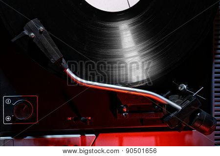 Gramophone with a vinyl record, top view