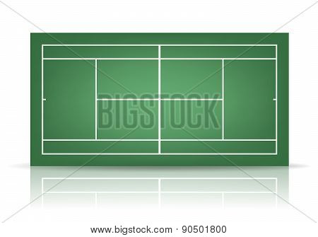 Vector Green Tennis Court With Reflection