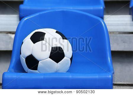 Soccer ball on stadium seat